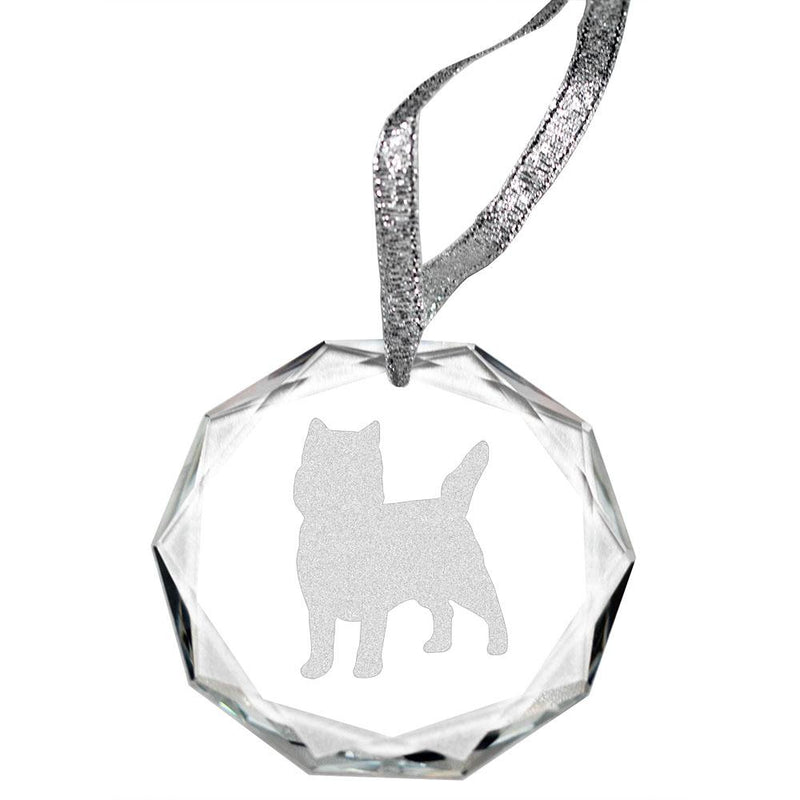 Cairn Terrier Laser Engraved Round Facet Crystal Ornament