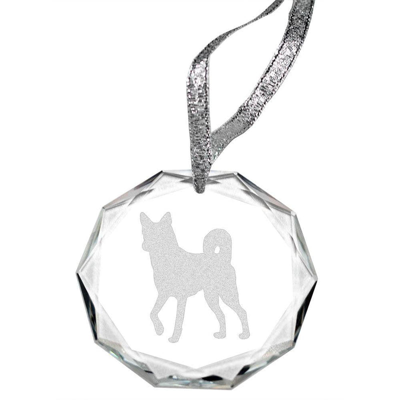 Canaan Dog Laser Engraved Round Facet Crystal Ornament