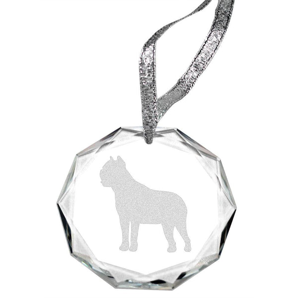 Cane Corso Laser Engraved Round Facet Crystal Ornament