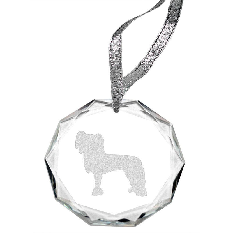 Chinese Crested Laser Engraved Round Facet Crystal Ornament