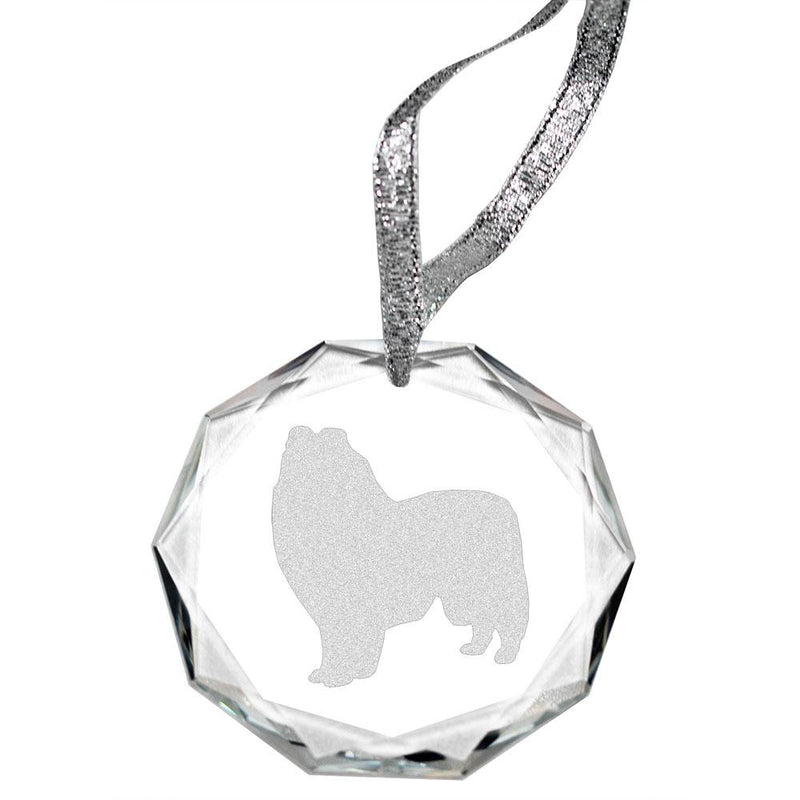 Collie Laser Engraved Round Facet Crystal Ornament