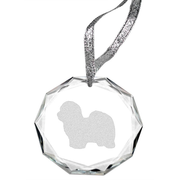 Coton de Tulear Laser Engraved Round Facet Crystal Ornament