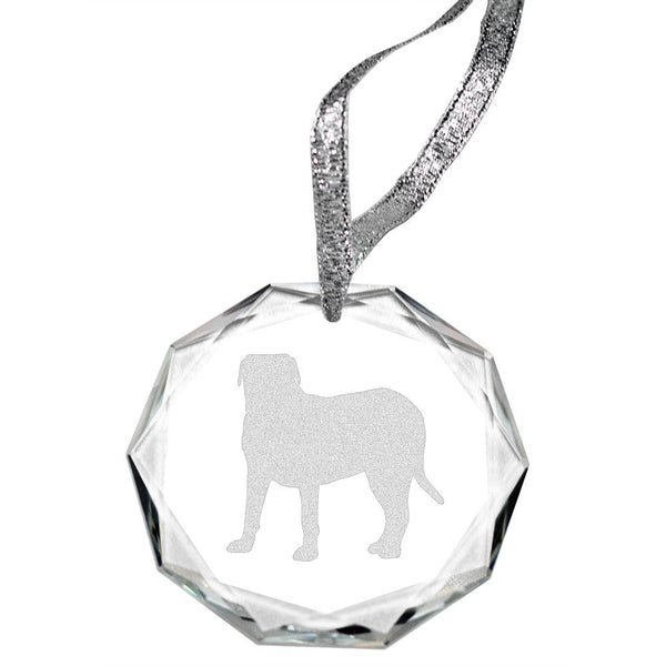 Dogue de Bordeaux Laser Engraved Round Facet Crystal Ornament