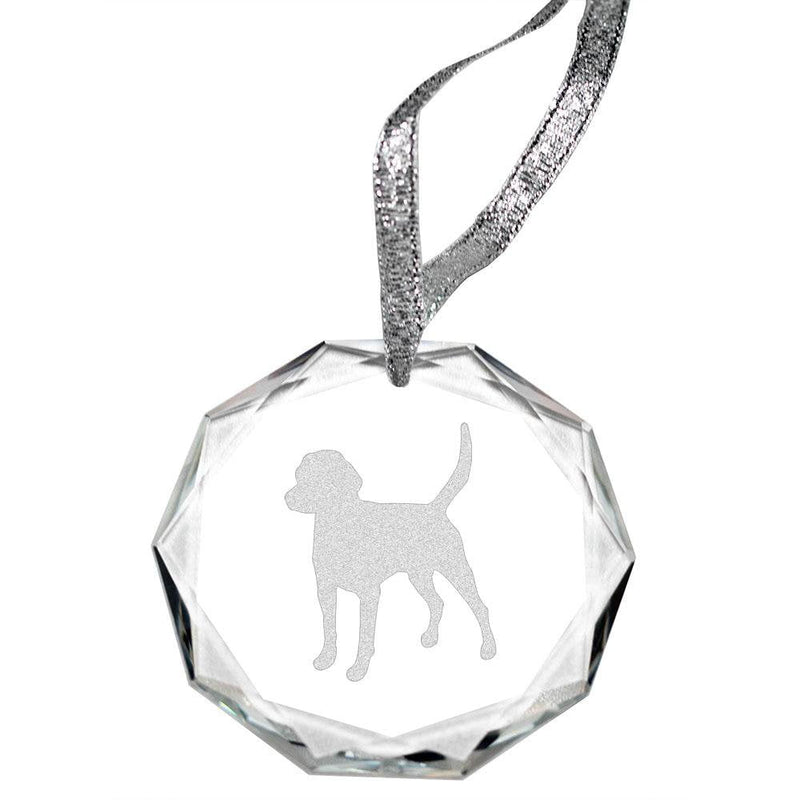 English Foxhound Laser Engraved Round Facet Crystal Ornament
