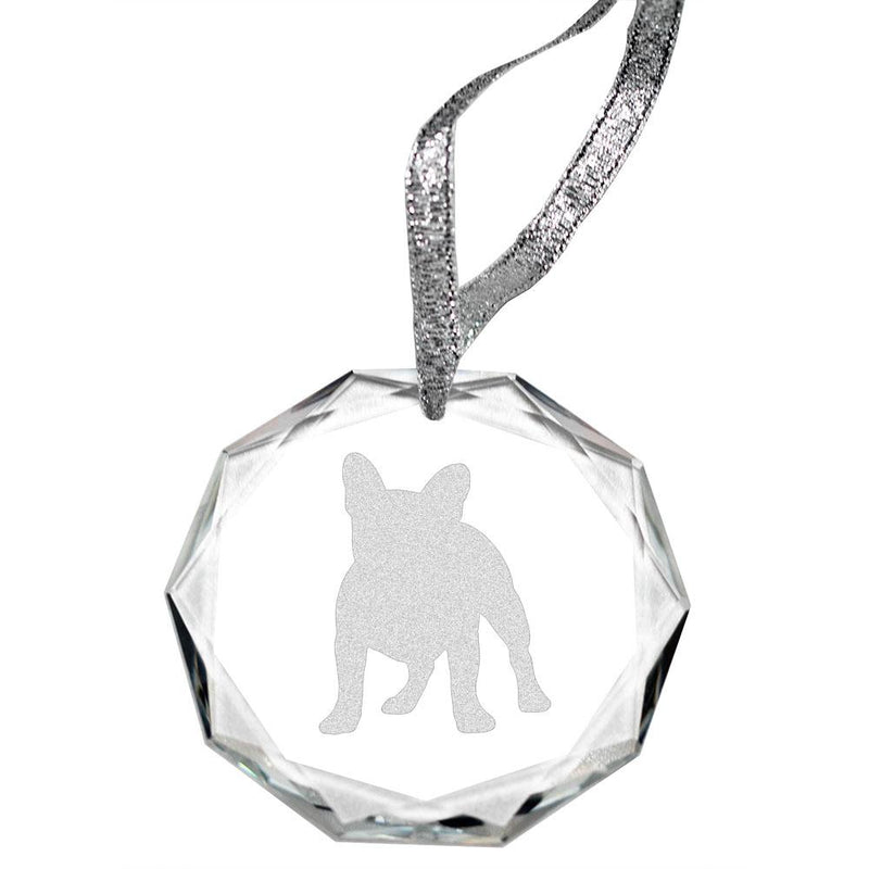 French Bulldog Laser Engraved Round Facet Crystal Ornament