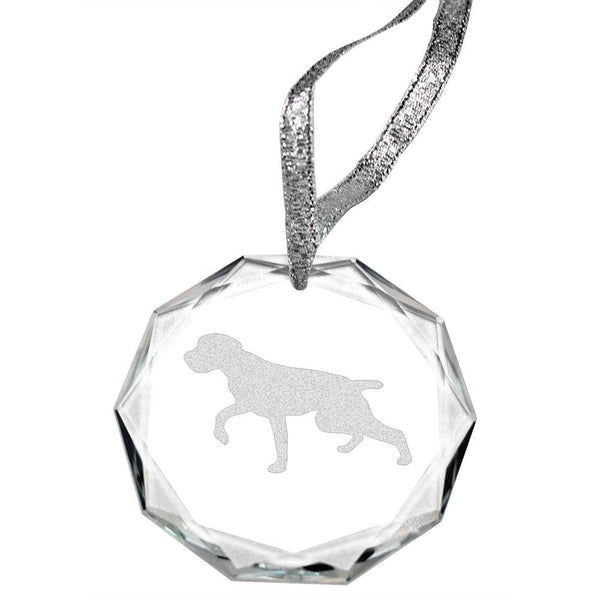 German Wirehaired Pointer Laser Engraved Round Facet Crystal Ornament