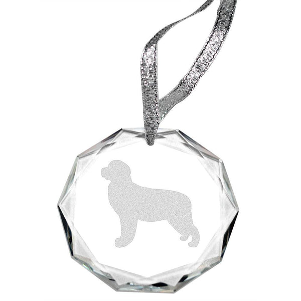 Golden Retriever Laser Engraved Round Facet Crystal Ornament