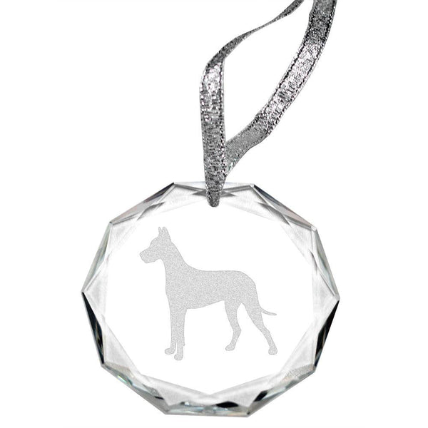 Great Dane Laser Engraved Round Facet Crystal Ornament