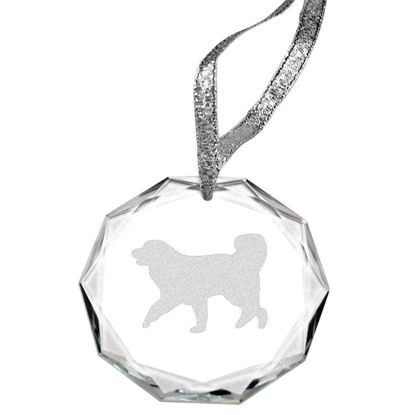 Great Pyrenees Laser Engraved Round Facet Crystal Ornament