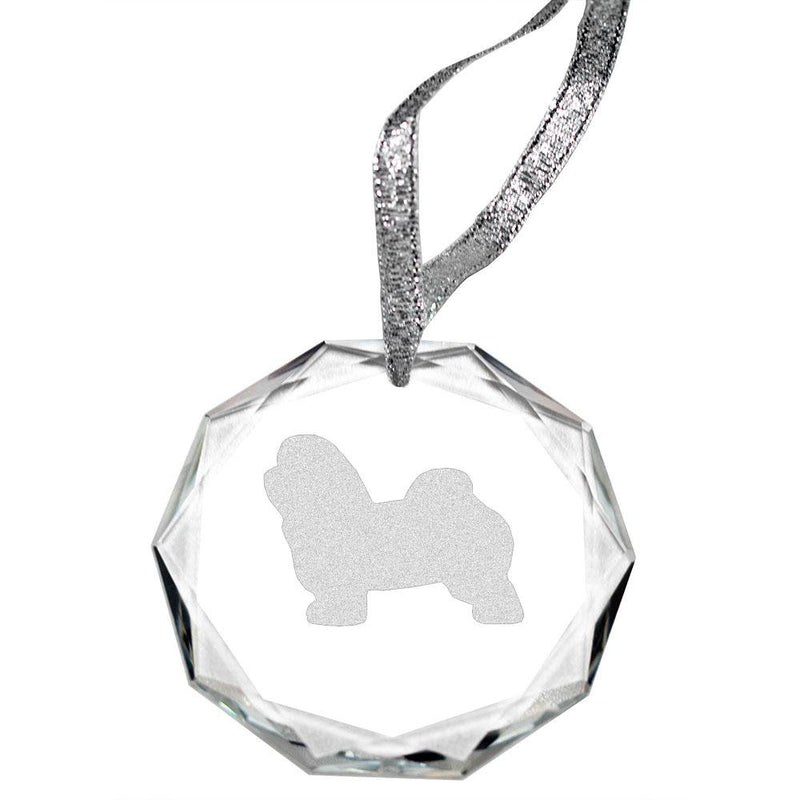 Havanese Laser Engraved Round Facet Crystal Ornament