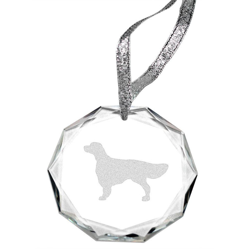 Irish Red and White Setter Laser Engraved Round Facet Crystal Ornament