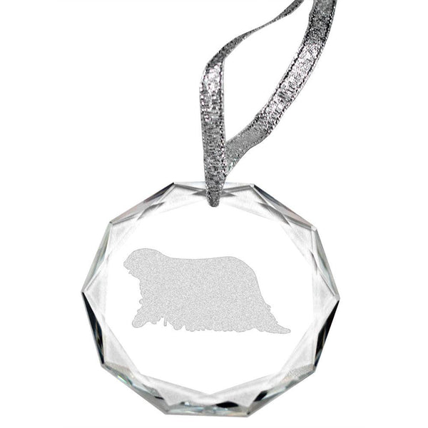 Komondor Laser Engraved Round Facet Crystal Ornament