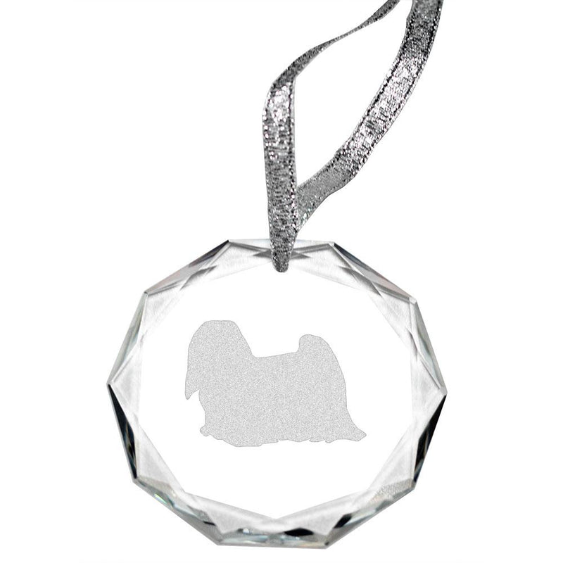 Lhasa Apso Laser Engraved Round Facet Crystal Ornament
