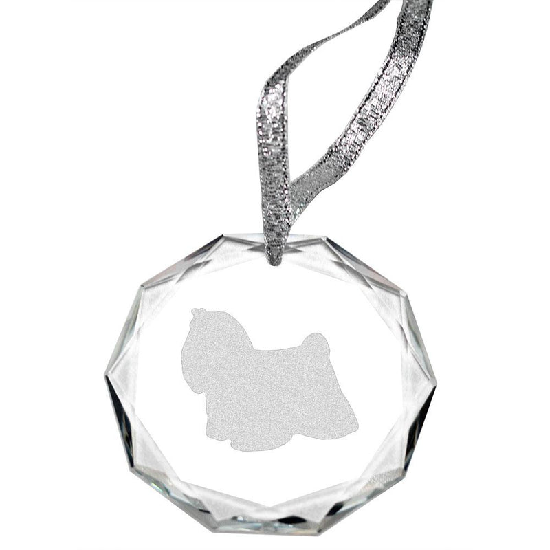 Maltese Laser Engraved Round Facet Crystal Ornament