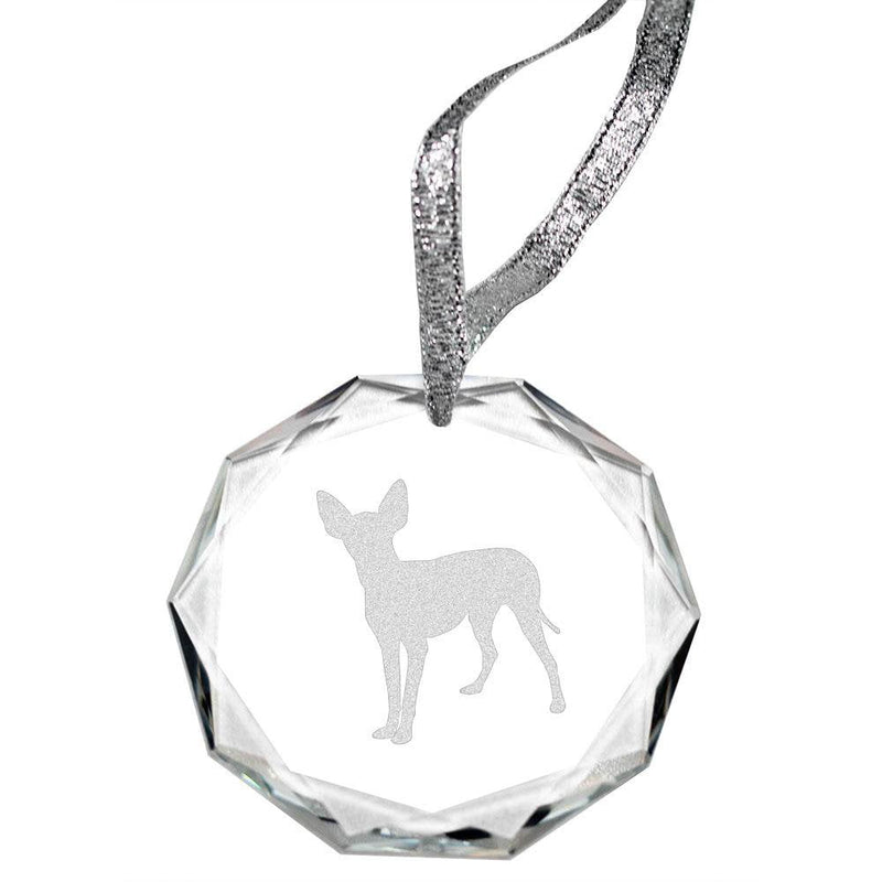 Manchester Terrier Laser Engraved Round Facet Crystal Ornament