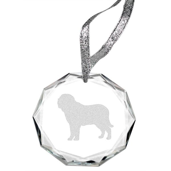 Mastiff Laser Engraved Round Facet Crystal Ornament