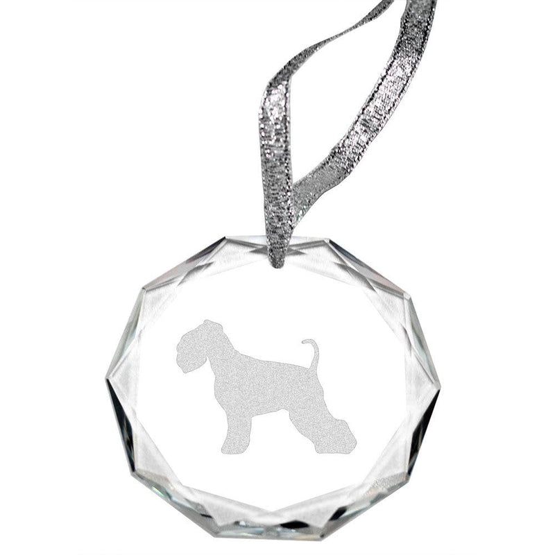 Miniature Schnauzer Laser Engraved Round Facet Crystal Ornament