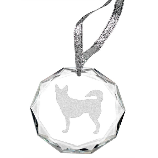 Norwegian Lundehund Laser Engraved Round Facet Crystal Ornament