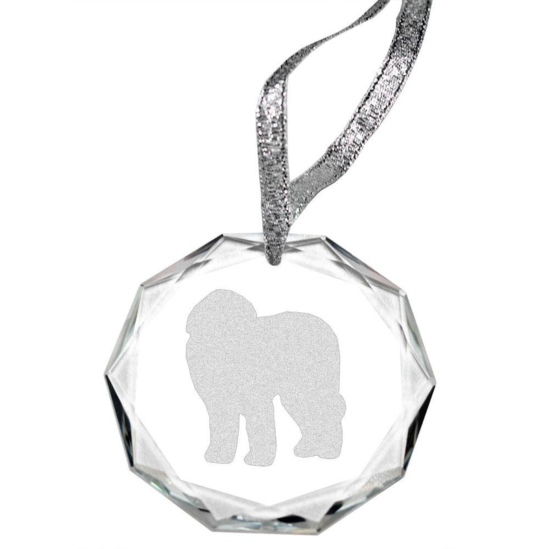 Old English Sheepdog Laser Engraved Round Facet Crystal Ornament