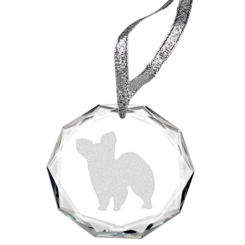 Papillon Laser Engraved Round Facet Crystal Ornament