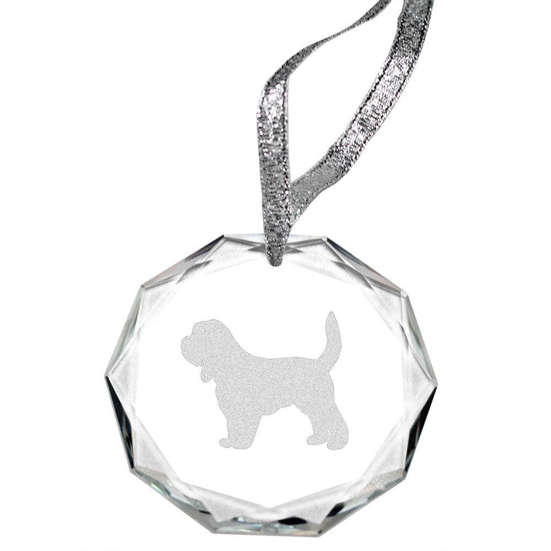 Petit Basset Griffon Vendeen Laser Engraved Round Facet Crystal Ornament