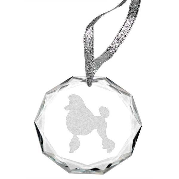 Poodle-Pet Cut Laser Engraved Round Facet Crystal Ornament