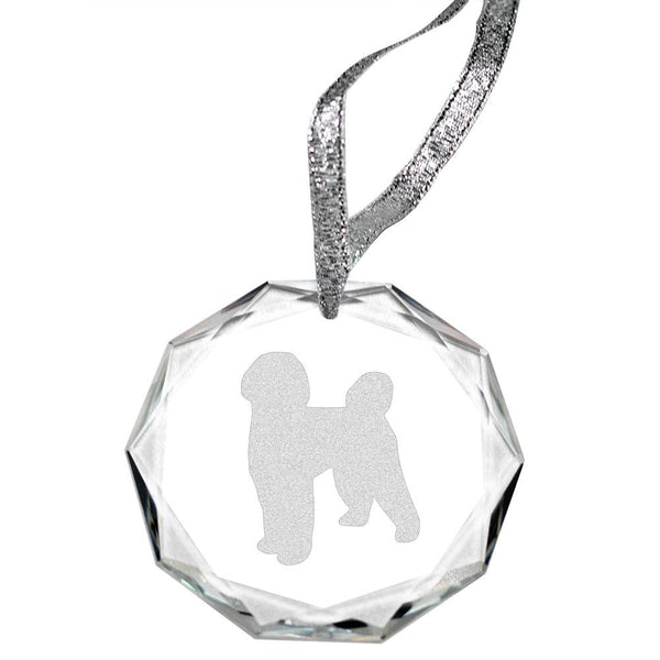 Portuguese Water Dog Laser Engraved Round Facet Crystal Ornament