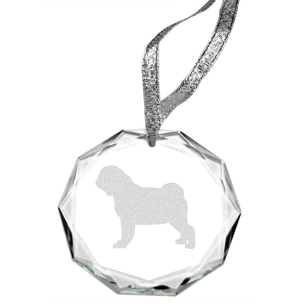 Pug Laser Engraved Round Facet Crystal Ornament
