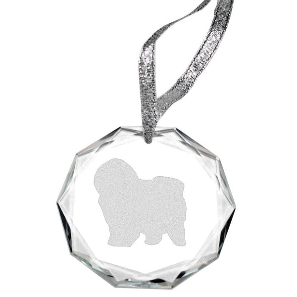 Puli Laser Engraved Round Facet Crystal Ornament