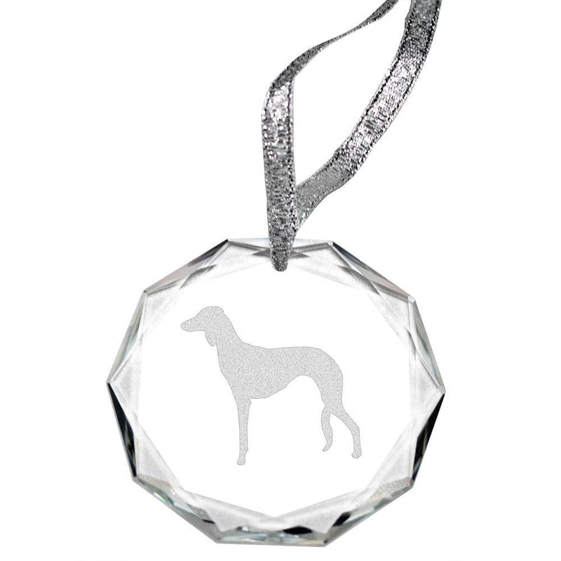 Saluki Laser Engraved Round Facet Crystal Ornament