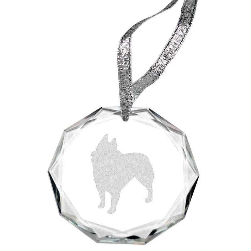 Schipperke Laser Engraved Round Facet Crystal Ornament