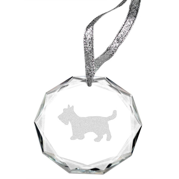 Scottish Terrier Laser Engraved Round Facet Crystal Ornament