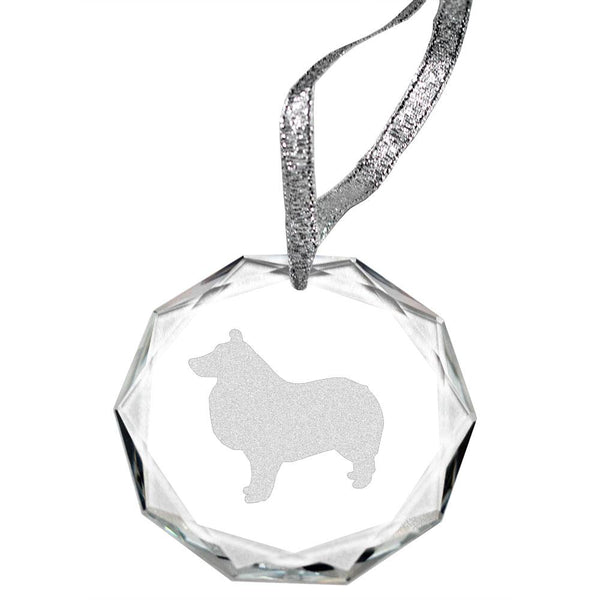 Shetland Sheepdog Laser Engraved Round Facet Crystal Ornament