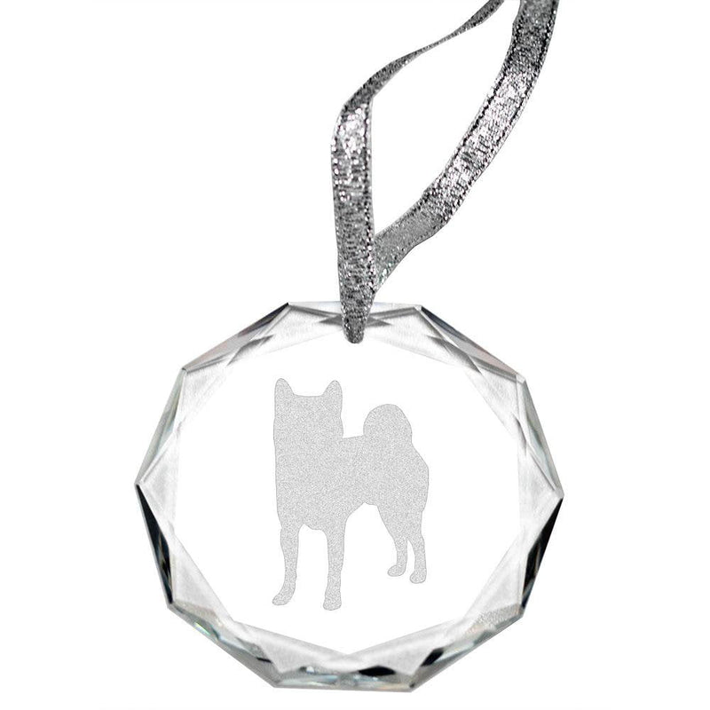 Shiba Inu Laser Engraved Round Facet Crystal Ornament