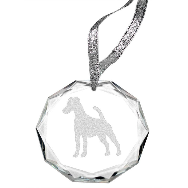 Smooth Fox Terrier Laser Engraved Round Facet Crystal Ornament