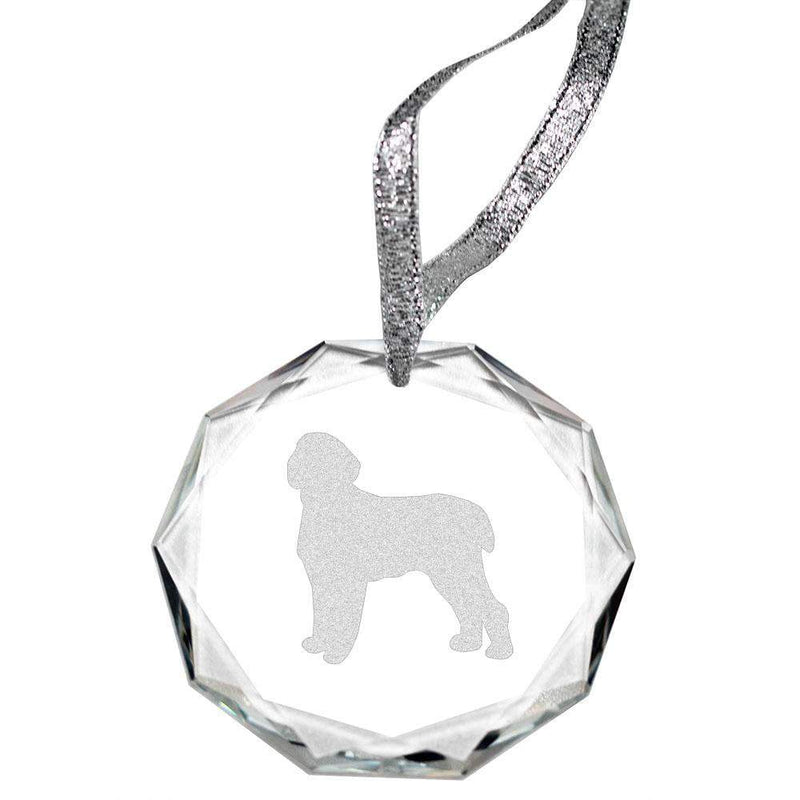 Spinone Italiano Laser Engraved Round Facet Crystal Ornament