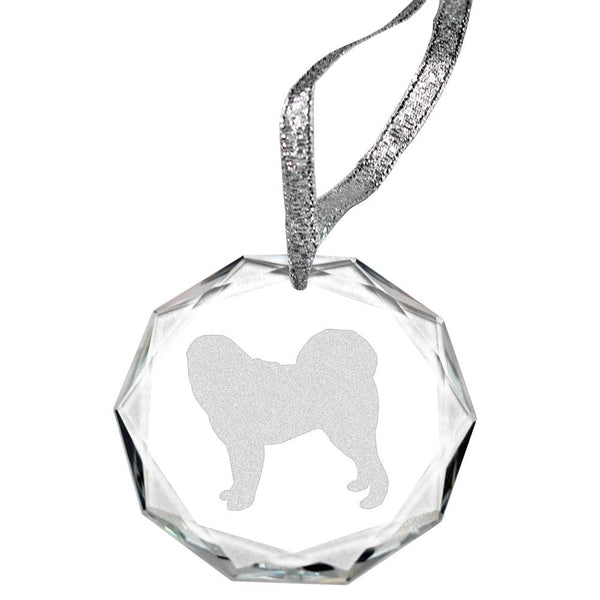 Tibetan Mastiff Laser Engraved Round Facet Crystal Ornament