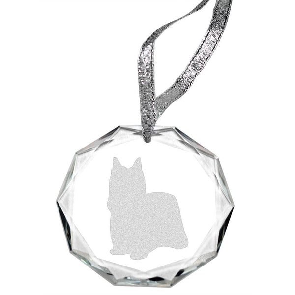 Yorkshire Terrier-Show Cut Laser Engraved Round Facet Crystal Ornament