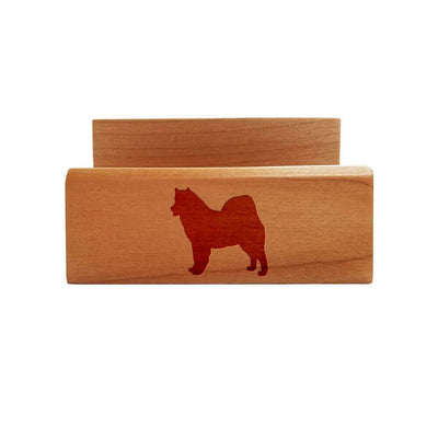 Alaskan Malamute Laser Engraved Maple Business Card Holder