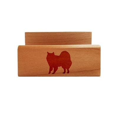 American Eskimo Dog Laser Engraved Maple Business Card Holder