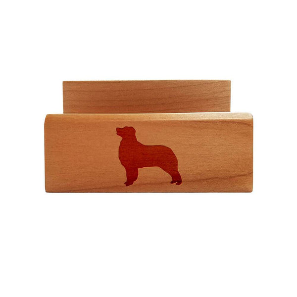 Australian Shepherd Laser Engraved Maple Business Card Holder