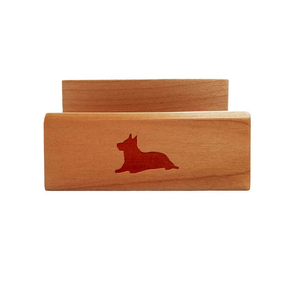 Australian Terrier Laser Engraved Maple Business Card Holder