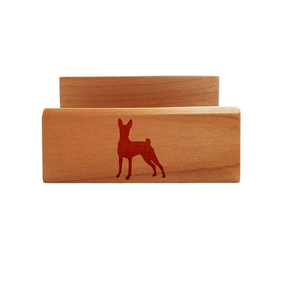 Basenji Laser Engraved Maple Business Card Holder