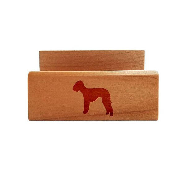 Bedlington Terrier Laser Engraved Maple Business Card Holder