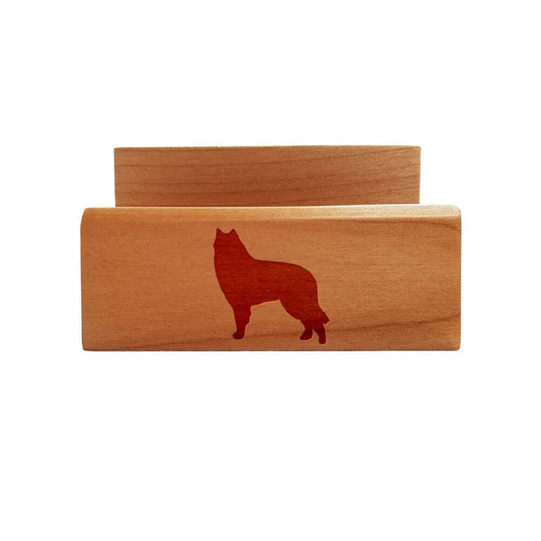 Belgian Sheepdog Laser Engraved Maple Business Card Holder