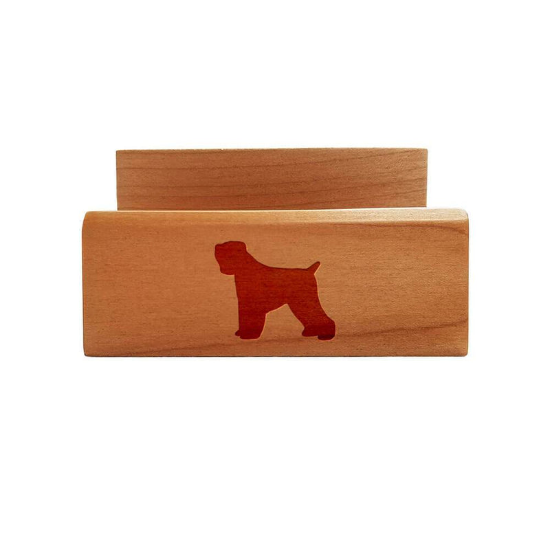 Black Russian Terrier Laser Engraved Maple Business Card Holder