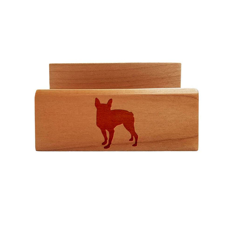 Boston Terrier Laser Engraved Maple Business Card Holder