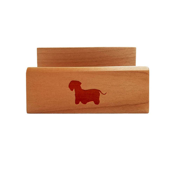 Cesky Terrier Laser Engraved Maple Business Card Holder