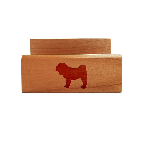 Chinese Shar-Pei Laser Engraved Maple Business Card Holder