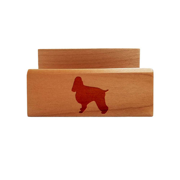 English Cocker Spaniel Laser Engraved Maple Business Card Holder